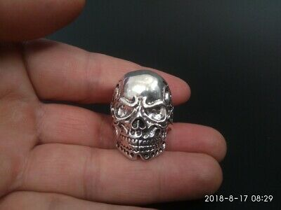 China old Tibetan silver hand made Chinese Skull statue finger ring NT08