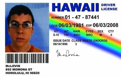 Uk £5 Cards Replica Alg Superbad License Novelty Mclovin Picclick - Driving Id 62
