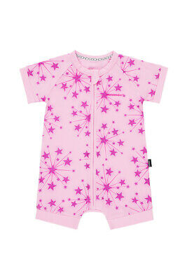 Bonds Baby Short Sleeve Zip Wondersuit Romper size 1 Exploding Star Pink
