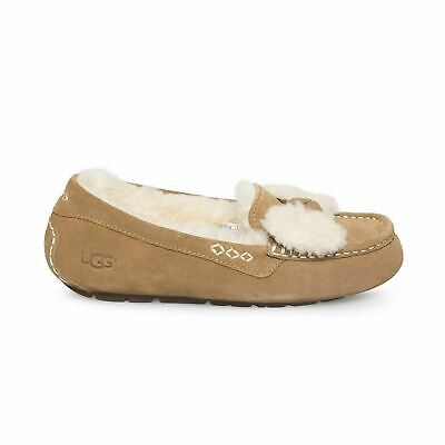 f62434a67be UGG ANSLEY FUR Bow Chestnut Waterproof Suede Sheepskin Womens Slippers Size  Us 7
