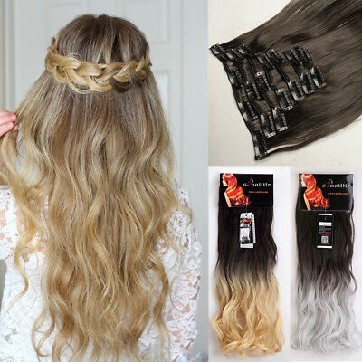Clearance 8 Pieces Clip In as Human Hair Extension Srtaight Curly Wavy Highlight