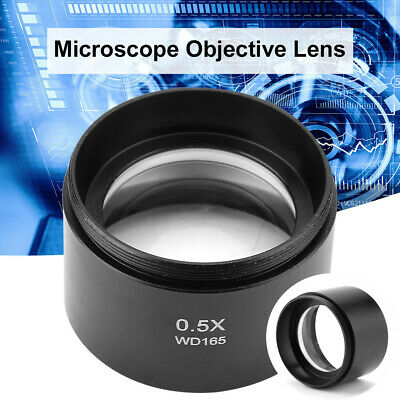 """WD165 0.5X Auxiliary Lens Barlow Objective Lens f Stereo Microscope 1-7/8"""" 48mm"""