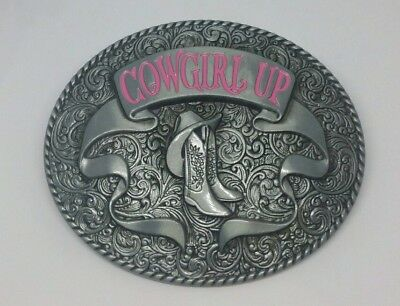 Cowgirl Up Western Boots Belt Buckle Grey Pink Metal Rodeo Intricate Oval