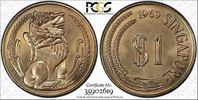 1969 Singapore $1 Dollar Bu Uncirculated Pcgs Ms66 Only 1 Graded Higher!