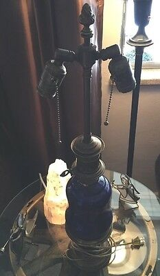 Antique Colonial Coral Blue O/Bronze  Electrified Whale Oil Prestige 1800's Lamp