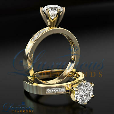 Round Cut Anniversary Diamond Ring 0.95 CT F VS1 Solitaire With Accents