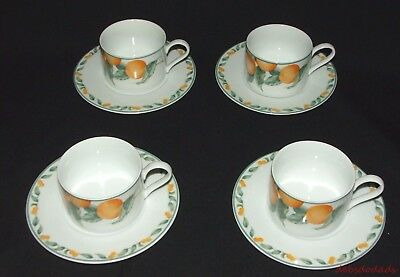 Four Collectible Coventry Fine Porcelain Country Fruit Coffee Cups / Saucers