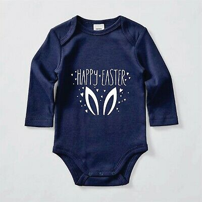 Happy Easter Bunny ears, Babygrow, Bodysuit, Romper, Baby clothes long sleeves