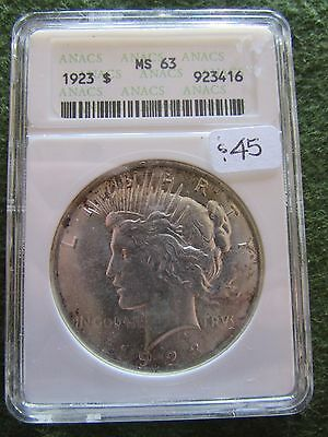 1923 Peace Dollar ANACS MS63 OGH Old White Holder Philadelphia $1 Silver Coin