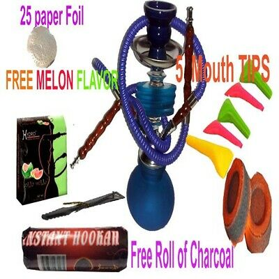 "Blue  Hookah 12"" Glass Water Pipe 2 Hose Shisha Narghile Charcoal set"