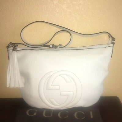 4023e5ec2 Gucci GG Soho Leather Half Moon Shoulder Crossbody Tassel Bag Ivory Cream  White