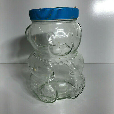 Vintage Kraft Female Mumma Bear Glass Jar 1988 Peanut Butter Retro Blue Lid