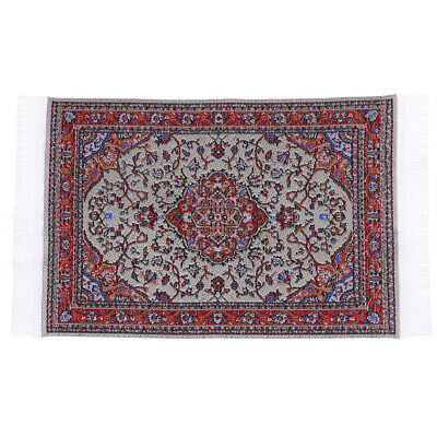 1:12 Dollhouse miniature embroidered carpet woven floral rug floor coveringsER