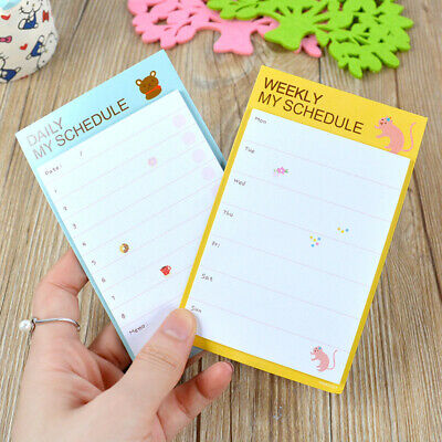 1/2pcs Daily & Weekly Schedule Check List Planner Sticker Sticky Notes Memo Pad