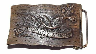 Vintage Brass Belt Buckle 1977 Indiana Metal Craft Country Music Cowboy
