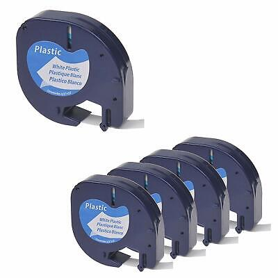 5PK 912031 Label Tape Plastic Compatible with Dymo LetraTag 91331 1/2'' Refil