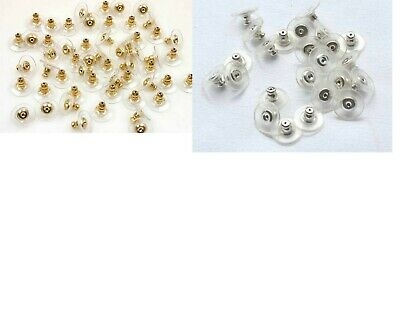 20 Comfort Earnuts Stud Earring Back Stoppers Silver Gold tone clear pad, 7x11mm