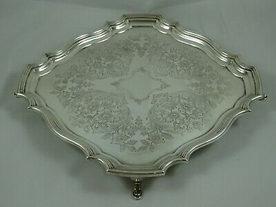 QUALITY solid silver SALVER , 1949, 754gm