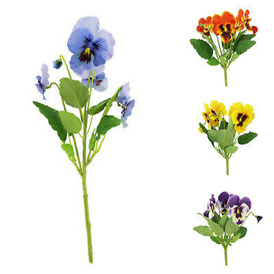 Artificial Silk Pansy Plant Bush/Bunches/Bouquet/Spray Memorial Flowers