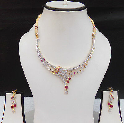 d7018d863a563 ETHNIC INDIAN FASHION Jewelry American AD Ruby Necklace Earrings Wedding  Set s56