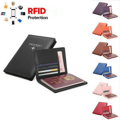 RFID Blocking Leather Wallet Anti-Theft Passport ID Card Holder Travel Secure