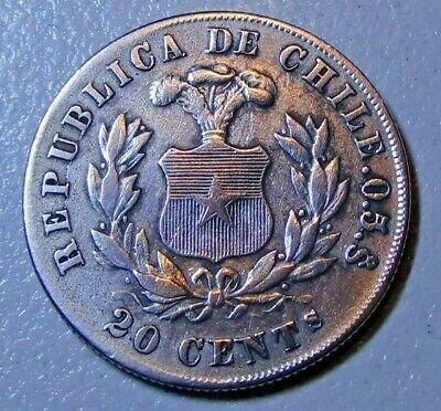 1881 Chile 20 cents EF Silver Coin