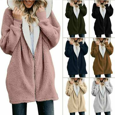 Plus Size Womens Winter Hooded Fleece Oversized Jacket Ladies Coats Cardigans AU