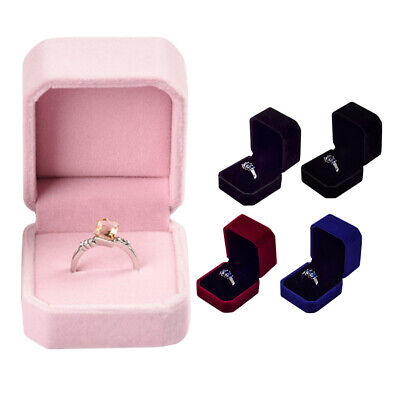 Velvet Engagement Wedding Jewelry Box Ring Organizer Display Storage Case Gift