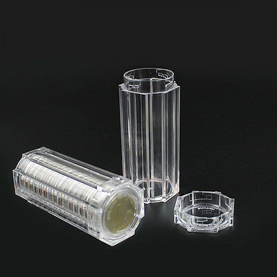 Plastic Clear Capsule Box Collection Tube Holder Case Storage For 30mm CoinsChic