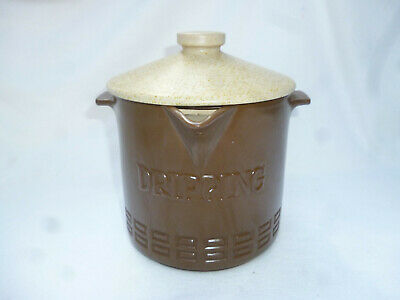 1970s VINTAGE RETRO LIDDED STONEWARE POT with STRAINER for DRIPPING