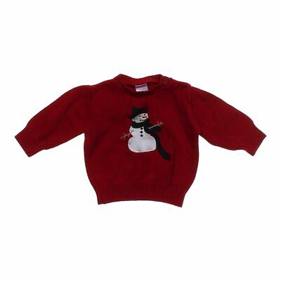 """Gymboree Baby Boys """"Snowman"""" Sweater, size 3 mo,  red,  cotton"""
