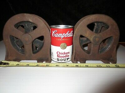 "2 Antique Cast Iron Pulley 4.5"" Wheel Ceiling Wall Jamb Mount Barn Elevator Rope"