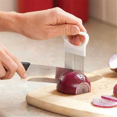 Stainless Steel Onion Cutter Needle Fruit Vegetable Slice Holder Cutter Tools Z