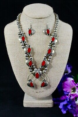 Vintage Navajo Sterling Silver Coral Squash Blossom Necklace & Earrings