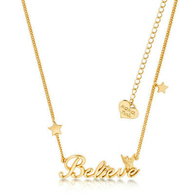 Disney Couture Kingdom Tinker Bell Believe Necklace - yellow gold