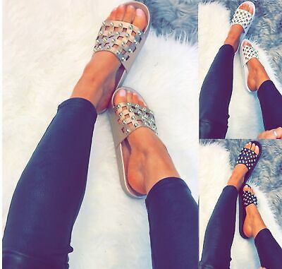 Womes Studded Flat Sliders Ladies Low Heel Comfort Casual Summer Sandals Shoes