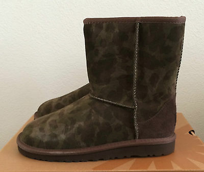 Girls Kids Youth Size 1 Brown UGG Classic Short Camouflage Winter Boots Warm