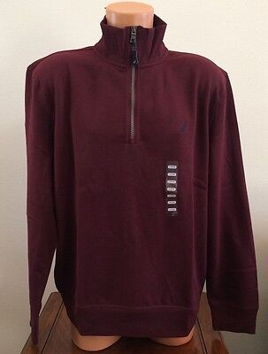 Nautica Mens Sz XL Burgundy 1/2 Zip Pullover Casual Sweatshirt Top Sweat Shirt