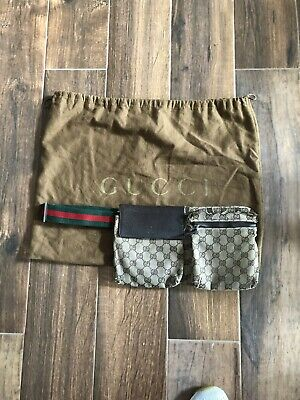 06f68d3ce8fc Gucci Waist Pouch Bumbag Belt Bag Fanny Pack Black Monogram Canvas Brown /Beige