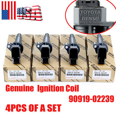 4PCS Genuine 90919-02239 Ignition Coils for Toyota Corolla Celica Chevy 1.8L US