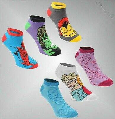 3 Pack Boys Girls Character Stylish Trainer Socks Size 1-6