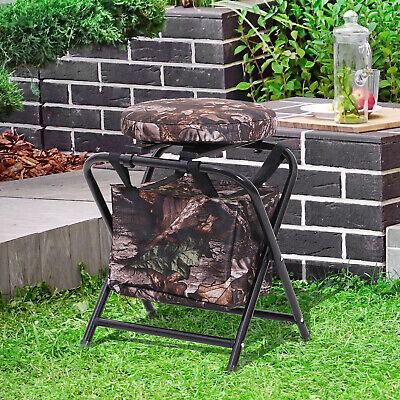 Folding Stool Chair w/ Storage Bag and Padded Seat Camouflage Garden