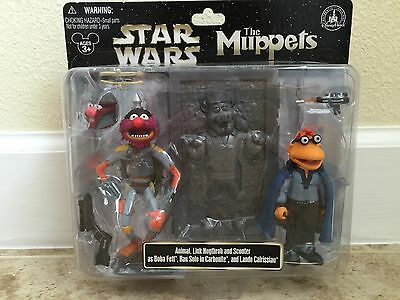 Star Wars Muppets Animal as Boba Fett Scooter as Lando Link as Han in Carbonite