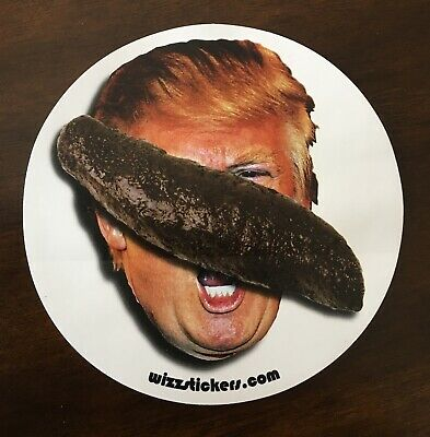 "Donald Trump Toilet Urinal Sticker (""Poop on Trump Face"") by wizzstickers"