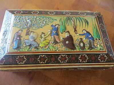 Antique Old Rare Persian Hand Painted With Inlay Work Cigar Jewelery Trinket Box