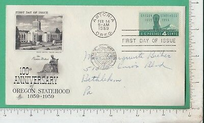 B286 Salem, Oregon statehood cover Marguerite Bieber, Union Blvd, Bethlehem, PA