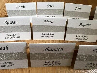 50 x Personalised Silver Glitter Wedding Place Cards White / Ivory Printed