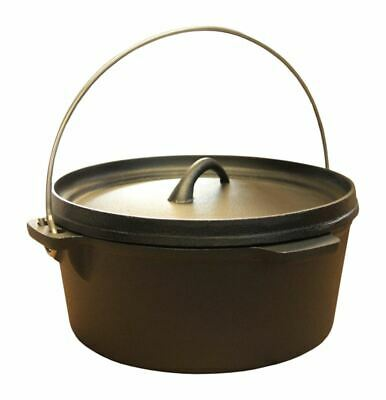 Cast Iron Stew Pot Camping Cooking Pot Dutch Oven Stock Pot Camping Pan 4.5 Ltr