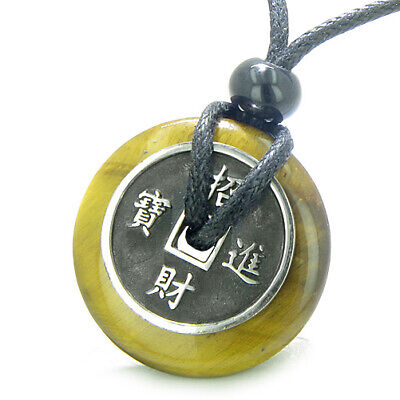 Amulet Lucky Coin Charm Donut in Tiger Eye Protection Powers Antiqued Stainless