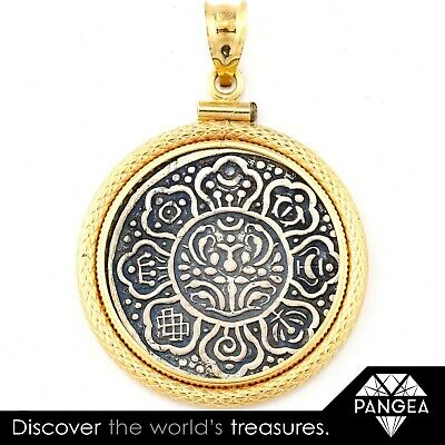 RARE Antique 18k Yellow Gold & Silver Buddhist Tibetan Ga-Den Tanka Coin Pendant